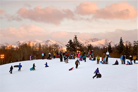 View of people sledding on a hill at Kincaid Park in late afternoon with the sun setting on the Chugach Mountains in background, Anchorage, Southcentral Alaska, Winter Stock Photo - Rights-Managed, Code: 854-03646609