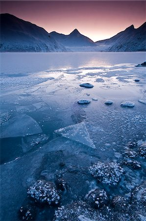 Close up of the frozen surface of Portage Lake at dawn in the Chugach National Forest, Southcentral Alaska, Winter Stock Photo - Rights-Managed, Code: 854-03646726