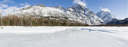 panoramic winter scene - Panorama of the Chugach Mountains and Eagle River Valley in Chugach State Park, Southcentral Alaska, Winter/n Stock Photo - Rights-Managed, Code: 854-03646722