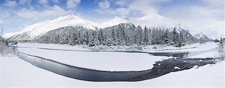 panoramic winter scene - Panorama of Portage Creek and Portage Valley in the Chugach National Forest, Southcentral Alaska, Winter/n Stock Photo - Rights-Managed, Code: 854-03646723