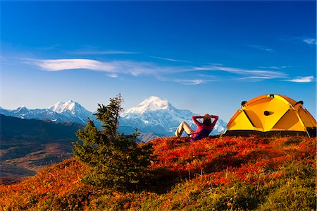 placing - A couple view Mt.McKinley from their campsite in Peters Hills, Denali State Park, Southcentral Alaska, Fall/n Stock Photo - Rights-Managed, Code: 854-03646871