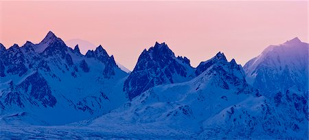 panoramic winter scene - Panoramic view of sunset over the Alaska Range in Denali State Park, Southcentral Alaska, Winter Stock Photo - Rights-Managed, Code: 854-03739675