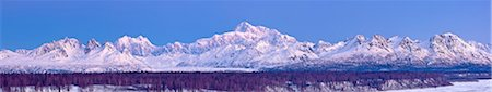 panoramic winter scene - Panoramic view of  sunrise over Mt. McKinley and the Alaska Range, Denali State Park, Southcentral Alaska, Winter Stock Photo - Rights-Managed, Code: 854-03739699