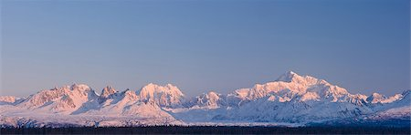 panoramic winter scene - Panoramic view of  sunrise over Mt. McKinley and the Alaska Range, Denali State Park, Southcentral Alaska, Winter Stock Photo - Rights-Managed, Code: 854-03739702