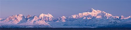 panoramic winter scene - Panoramic view of  sunrise over Mt. McKinley and the Alaska Range, Denali State Park, Southcentral Alaska, Winter Stock Photo - Rights-Managed, Code: 854-03739703
