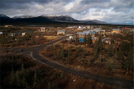 small town snow - View overlooking Arctic Village with Brooks Range in the background, Arctic Alaska, Autumn Stock Photo - Rights-Managed, Code: 854-03739914