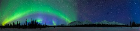 panoramic winter scene - View of Northern Lights over the foothills of the Alaska Range in Broad Pass, Southcentral Alaska, Winter Stock Photo - Rights-Managed, Code: 854-03739934