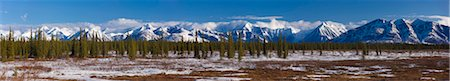 road landscape - Panoramic view of the Alaska Range foothills in Broad Pass along the George Parks Highway,  Southcentral Alaska, Spring Stock Photo - Rights-Managed, Code: 854-03739953