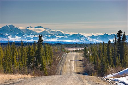 small town snow - View of the Denali Highway looking east with the Alaska Range in the backgroundl, near Cantwell, Southcentral Alaska, Spring Stock Photo - Rights-Managed, Code: 854-03739961