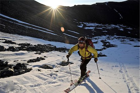 quest - Backcountry skier makes an early morning ascent of the north side of Mt. Chamberlin, Brooks Range, ANWR, Arctic Alaska, Summer Stock Photo - Rights-Managed, Code: 854-03740064