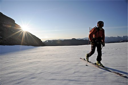 quest - Backcountry skier makes an early morning ascent of the north side of Mt. Chamberlin, Brooks Range, ANWR, Arctic Alaska, Summer Stock Photo - Rights-Managed, Code: 854-03740065
