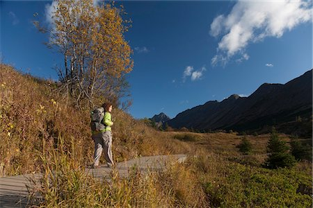 seasonal - Woman hiker in Glen Alps area of Chugach State Park hiking on the Williwaw Lakes and Ballpark trail,  Chugach Mountains, Southcentral Alaska, Autumn Stock Photo - Rights-Managed, Code: 854-03844986