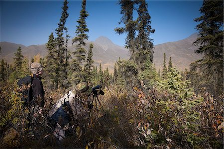 scope - Male bow hunter and son use a spotting scope to look for moose while hunting, Eklutna Lake area, Chugach State Park, Southcentral Alaska, Autumn Stock Photo - Rights-Managed, Code: 854-03844997