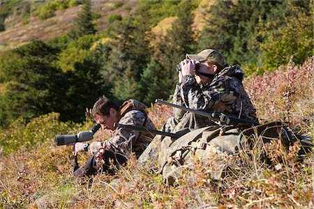 scope - Two male moose hunters scope and glass for game in the Bird Creek drainage area, Chugach Mountains, Chugach National Forest, Southcentral Alaska, Autumn Stock Photo - Rights-Managed, Code: 854-03845075