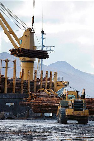 View of log ship being loaded with Sitka Spruce from Chiniak and Sequel Point at LASH dock in Women's Bay, Kodiak Island, Southwest Alaska, Autumn Stock Photo - Rights-Managed, Code: 854-03845262