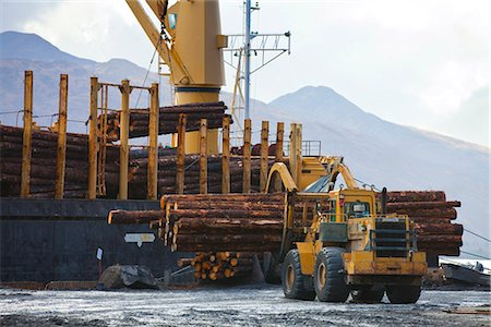 forestry - View of log ship being loaded with Sitka Spruce from Chiniak and Sequel Point at LASH dock in Women's Bay, Kodiak Island, Southwest Alaska, Autumn Stock Photo - Rights-Managed, Code: 854-03845263