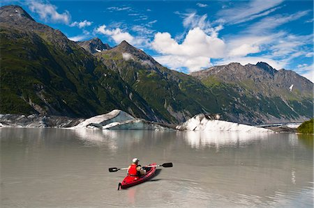 quest - Man kayaking amongst icebergs in the lake at Valdez Glacier's terminus, Southcentral Alaska, Summer Stock Photo - Rights-Managed, Code: 854-03845556
