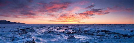 panoramic winter scene - Panoramic scenic at sunset of the Anchorage Coastal Wildlife Refuge with Kenai Mountains in the background, Southcentral Alaska, Winter Stock Photo - Rights-Managed, Code: 854-03846118