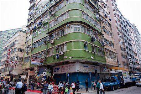 Old residential buildings at Tai Kok Tsui, Kowloon, Hong Kong Stock Photo - Rights-Managed, Code: 855-05984436