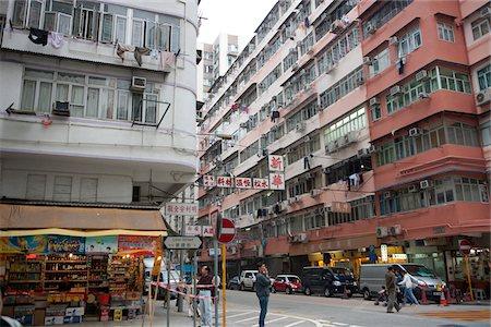 Old residential buildings at Tai Kok Tsui, Kowloon, Hong Kong Stock Photo - Rights-Managed, Code: 855-05984446