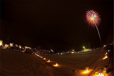 Fireworks celebrating the snow lantern festival with traditional folk houses covered with snow, Miyama-cho, Kyoto Prefecture, Japan Stock Photo - Rights-Managed, Code: 855-06022580
