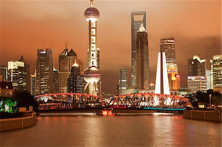 Skyline of Lujiazui Pudong viewed from Suzhou river at night, Shanghai, China Stock Photo - Rights-Managed, Code: 855-06312226