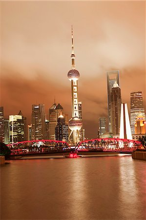 Skyline of Lujiazui Pudong viewed from Suzhou river at night, Shanghai, China Stock Photo - Rights-Managed, Code: 855-06312228