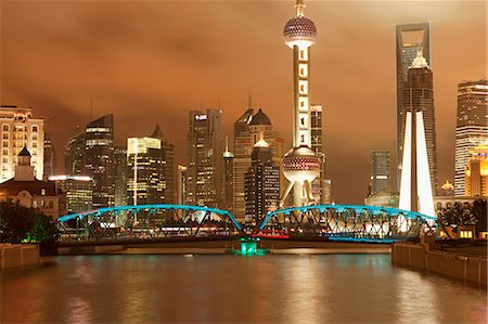 Skyline of Lujiazui Pudong viewed from Suzhou river at night, Shanghai, China Stock Photo - Rights-Managed, Code: 855-06312229