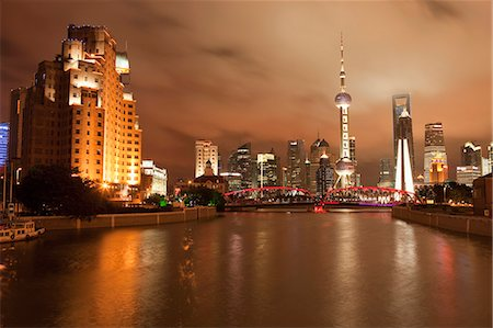 Skyline of Lujiazui Pudong viewed from Suzhou river at night, Shanghai, China Stock Photo - Rights-Managed, Code: 855-06312230