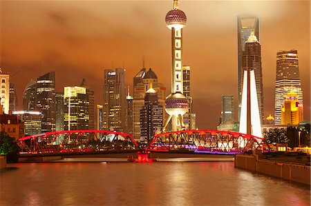 Skyline of Lujiazui Pudong viewed from Suzhou river at night, Shanghai, China Stock Photo - Rights-Managed, Code: 855-06312231
