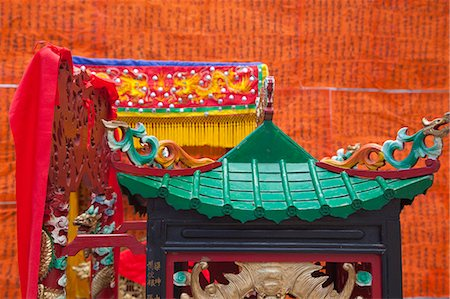 Sponsors list for the Bun festival hoisted at front of Pak Tai Temple, Cheung Chau, Hong Kong Stock Photo - Rights-Managed, Code: 855-06313317