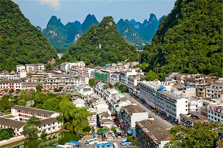 Townscape from Xilang Hill, Yangshuo, Guilin, China Stock Photo - Rights-Managed, Code: 855-06338669