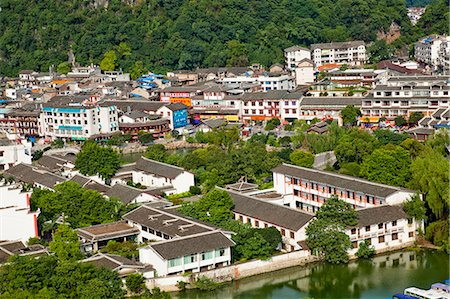 Townscape from Xilang Hill, Yangshuo, Guilin, China Stock Photo - Rights-Managed, Code: 855-06338673