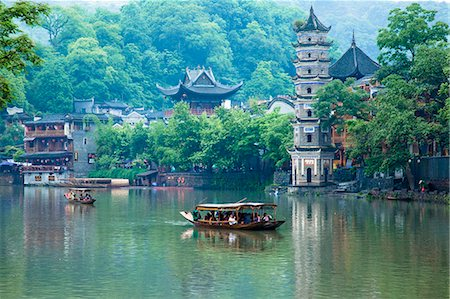 Tuo River and the scene of Phoenix old town, Zhangjiazie, Hunan, China Stock Photo - Rights-Managed, Code: 855-06338789