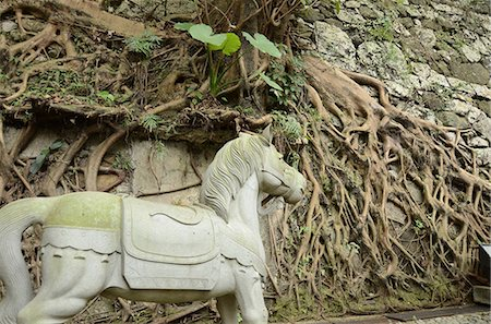 An old horse sculpture outside the chinese temple, Wanchai, Hong Kong Stock Photo - Rights-Managed, Code: 855-06339483