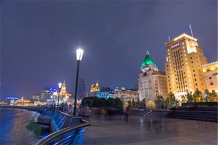 View of Bund (waitang)  from Huangpu park at night, Shanghai, PRC Fotografie stock - Rights-Managed, Codice: 855-08420640