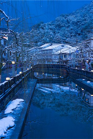 Snow on Otani river at night, Kinosaki Onsens (Hot springs) in winter. Kinosaki Hyogo Prefecture, Kansai, Japan Stock Photo - Rights-Managed, Code: 855-08420922