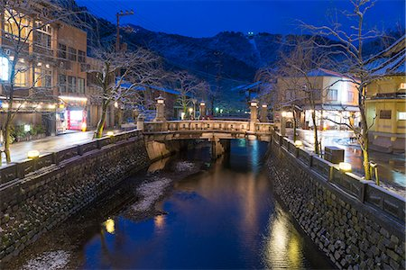 small town snow - Snow on Otani river at night, Kinosaki Onsens (Hot springs) in winter. Kinosaki Hyogo Prefecture, Kansai, Japan Stock Photo - Rights-Managed, Code: 855-08420932