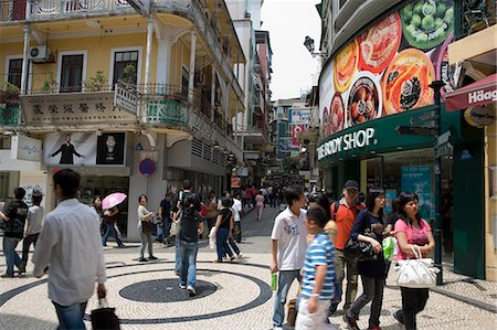 Rua des Domingos shopping street,Macau Stock Photo - Rights-Managed, Code: 855-03023260
