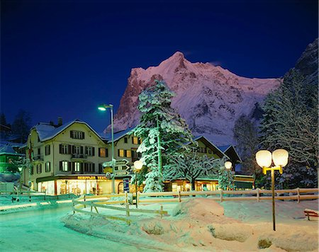 small town snow - Grindelwald at night, Switzerland Stock Photo - Rights-Managed, Code: 855-03255149