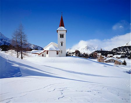 small town snow - Town church, Grindelwald, Switzerland Stock Photo - Rights-Managed, Code: 855-03255198