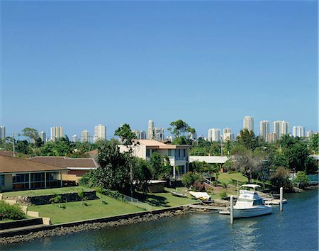 queensland - City skyline by the canal, Gold Coast, Australia Stock Photo - Rights-Managed, Code: 855-03255254