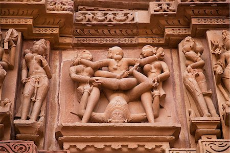 erotic female figures - Close-up of erotic carvings at a temple, Lakshmana Temple, Khajuraho, Chhatarpur District, Madhya Pradesh, India Stock Photo - Rights-Managed, Code: 857-06721528