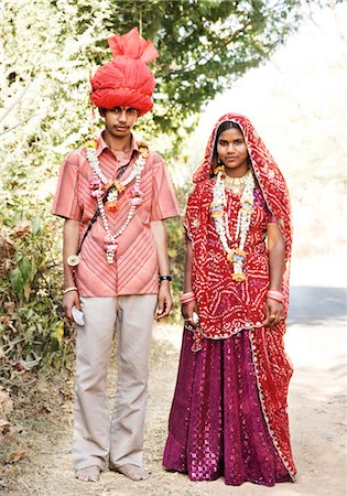 Portrait of a bridegroom with his bride, Udaipur, Rajasthan, India Stock Photo - Rights-Managed, Code: 857-03553548