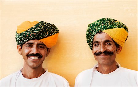 Portrait of two men smiling in a fort, Meherangarh Fort, Jodhpur, Rajasthan, India Stock Photo - Rights-Managed, Code: 857-03553567