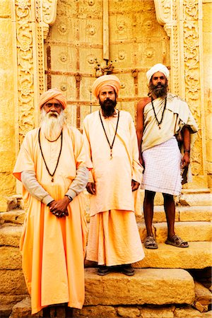 Portrait of three sadhus standing in front of a building, Jaisalmer, Rajasthan, India Stock Photo - Rights-Managed, Code: 857-03553582