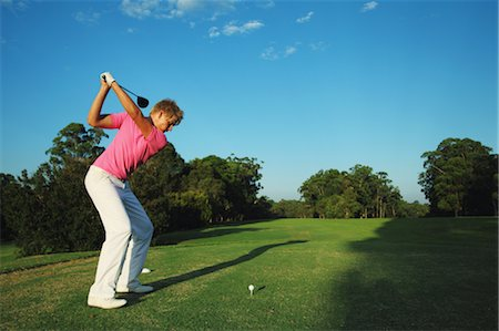 Golfer Preparing for Tee Shot Stock Photo - Rights-Managed, Code: 858-05799331