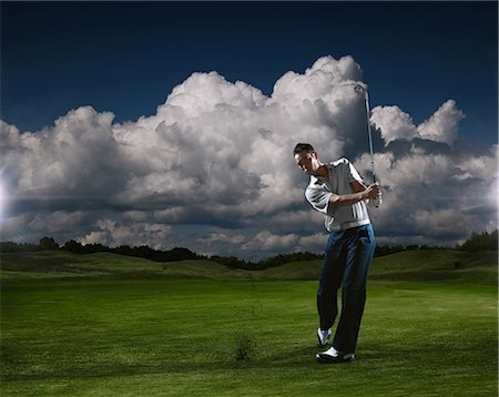 Man Playing Golf Stock Photo - Rights-Managed, Code: 858-06159388