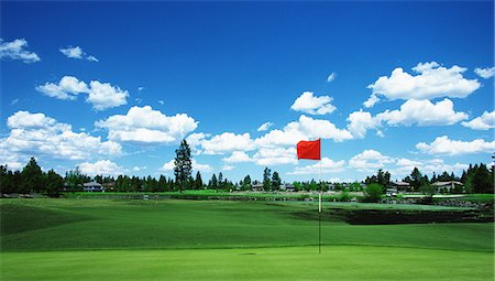 Golf Flag On Green With Cloudy Sky Stock Photo - Rights-Managed, Code: 858-06756388
