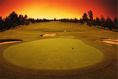 Golf Course With Sky Glowing Stock Photo - Rights-Managed, Code: 858-06756455